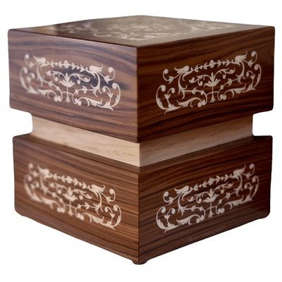 Filigree Wood Cremation Urn