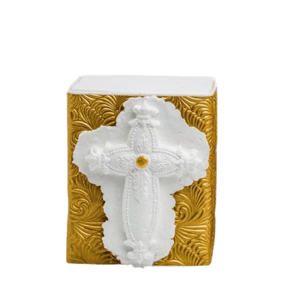 Floral Cross Small Biodegradable Urn