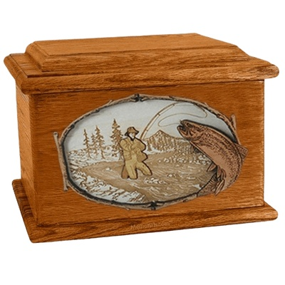 Fly Fishing Mahogany Memory Chest Cremation Urn