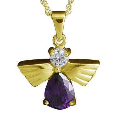 Flying Angel Amethyst Cremation Pendant IV