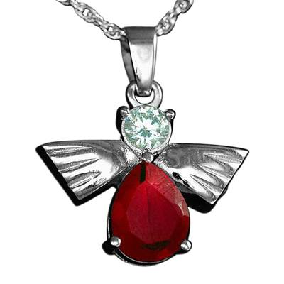 Flying Angel Ruby Cremation Pendant III