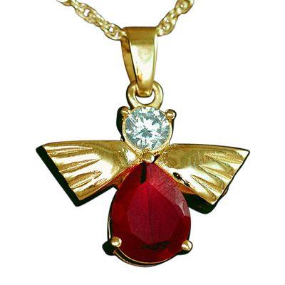 Flying Angel Ruby Cremation Pendant II
