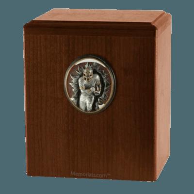 Football Player Walnut Cremation Urn