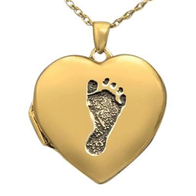Footprint Locket 14k Gold Keepsake