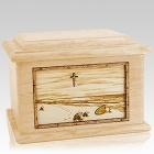 Footprints Maple Memory Chest Cremation Urn