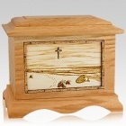 Footprints Oak Cremation Urn