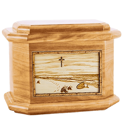 Footprints Oak Octagon Cremation Urn