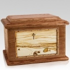 Footprints Walnut Memory Chest Cremation Urn