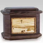 Footprints Walnut Octagon Cremation Urn