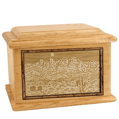 Four Peaks Oak Memory Chest Cremation Urn