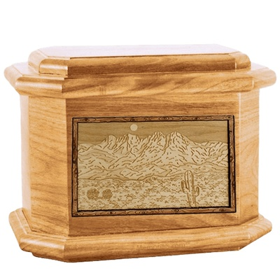 Four Peaks Oak Octagon Cremation Urn