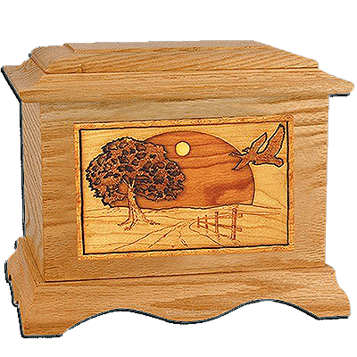 Geese Oak Cremation Urn for Two
