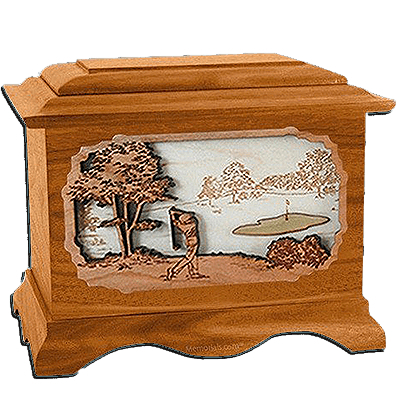 Golf Mahogany Cremation Urn for Two