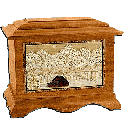Grand Tetons Mahogany Cremation Urn For Two