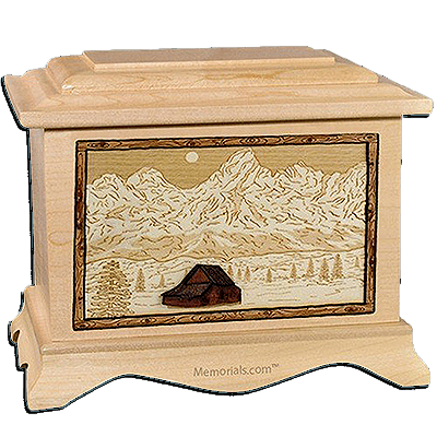Grand Tetons Maple Cremation Urn For Two