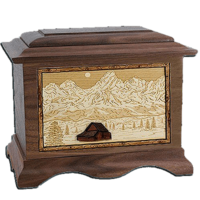 Grand Tetons Walnut Cremation Urn For Two
