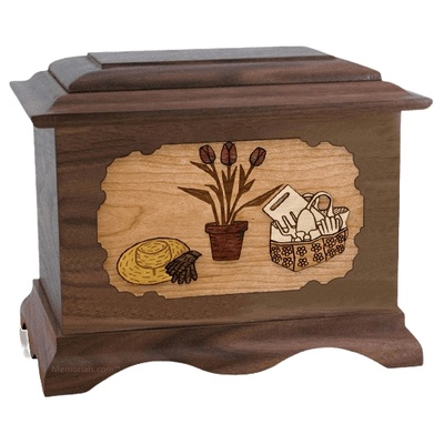 Gardening Walnut Cremation Urn
