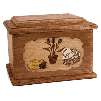 Gardening Walnut Memory Chest Cremation Urn