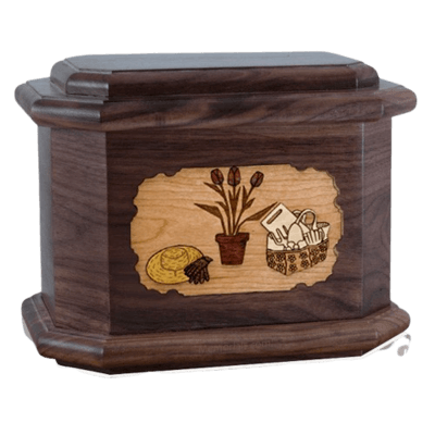 Gardening Walnut Octagon Cremation Urn