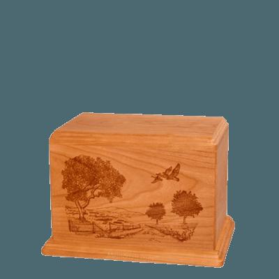 Geese Small Mahogany Wood Urn
