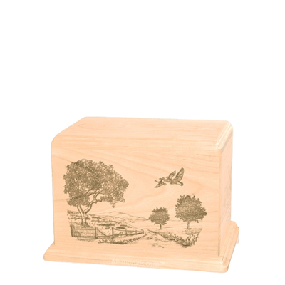 Geese Small Maple Wood Urn