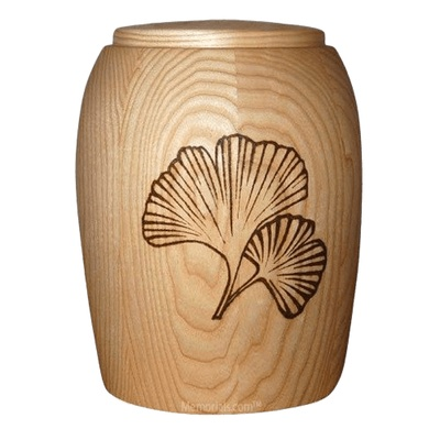 Ginkgo Leafs Wood Cremation Urn