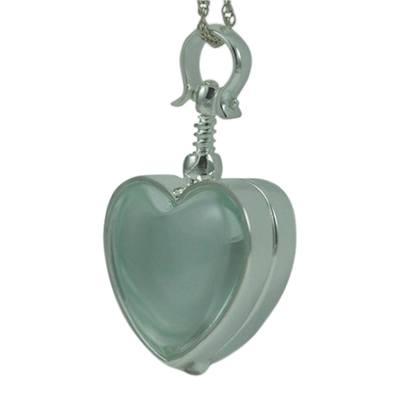 Heart Glass Locket Memorial Jewelry