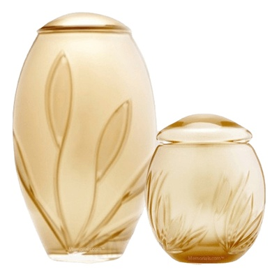 Gold Bloom Glass Cremation Urns
