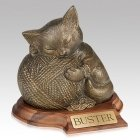 Gold Cat Cremation Urn with Base