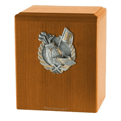 Golf Fan Oak Cremation Urn