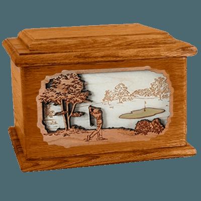 Golf Mahogany Memory Chest Cremation Urn
