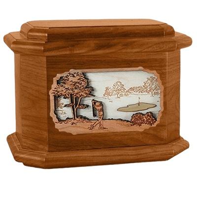 Golf Mahogany Octagon Cremation Urn