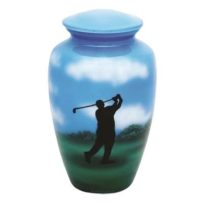 Golfer Unique Metal Urn