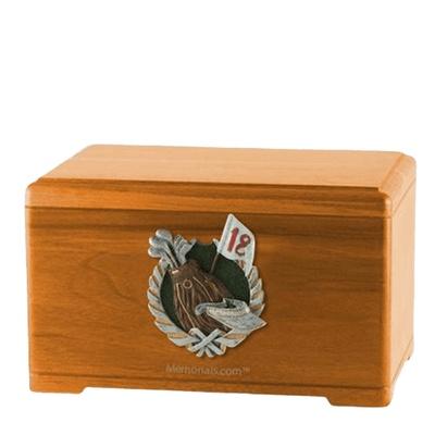 Golfer Oak Cremation Urn