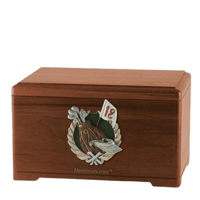 Golfer Walnut Cremation Urn
