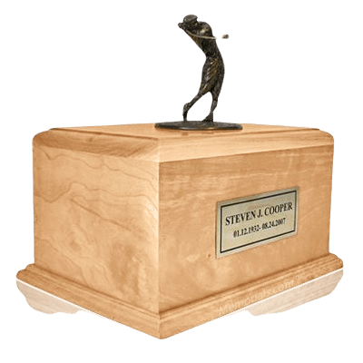 Golfing to Heaven Maple Urn