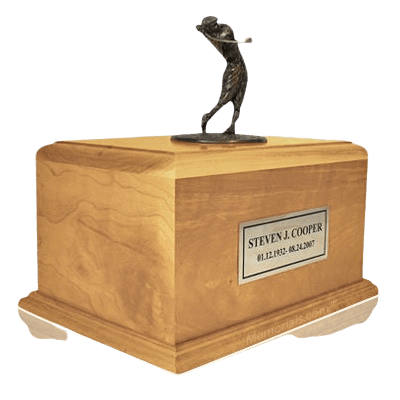 Golfing to Heaven Oak Urn