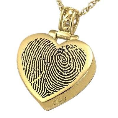 Grand Heart 14k Gold Cremation Print Keepsake