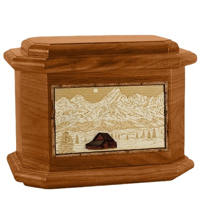 Grand Tetons Mahogany Octagon Cremation Urn