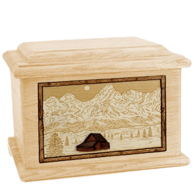 Grand Tetons Maple Memory Chest Cremation Urn