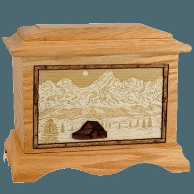 Grand Tetons Oak Cremation Urn