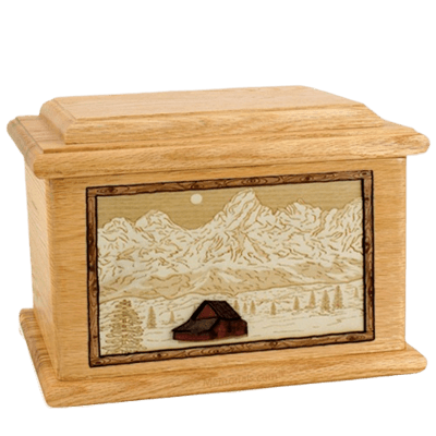 Grand Tetons Oak Memory Chest Cremation Urn