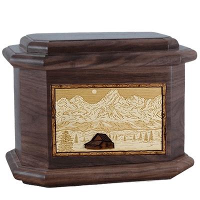 Grand Tetons Walnut Octagon Cremation Urn