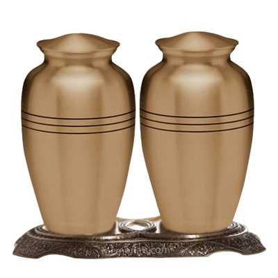 Grecian Bronze Cremation Urns For Two