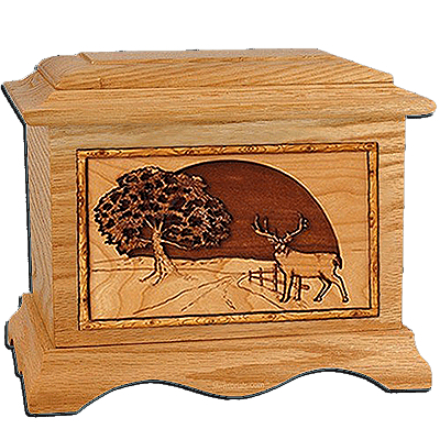 Heartland Deer Oak Cremation Urn for Two