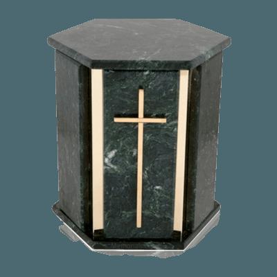 Hexagon Blue Tone Granite Cremation Urn