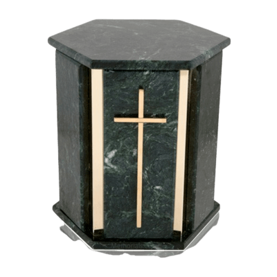 Hexagon Silver Blue Tone Granite Urn