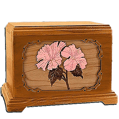 Hibiscus Mahogany Cremation Urn for Two