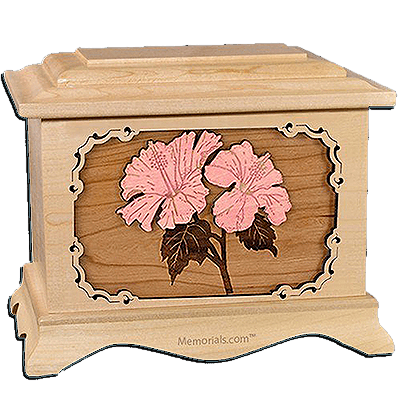 Hibiscus Maple Cremation Urn for Two