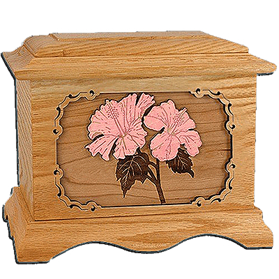 Hibiscus Oak Cremation Urn for Two